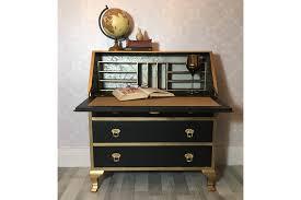 vintage bureau vintage writing desk vintage writing bureau black and gold vintage