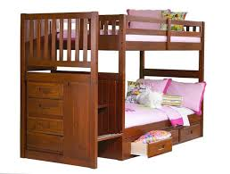 discovery world furniture twin over twin merlot staircase bunk