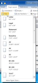 Paper Size Drop Down Menu Of MS Word 2010