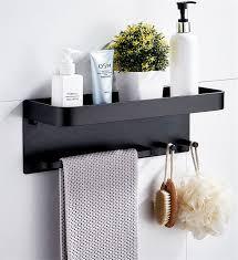 großhandel badezimmerregal aluminium schwarzer eckregal square bath duschregal wandmontierter lager organizer rack mit haken und handtuchstab