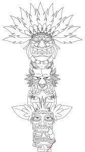 Totem Pole Coloring Page Popular Native American Printable Pages 7