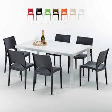 weiß rechteckig tisch und 6 stühle farbiges polypropylen außenmastenset grand soleil summerlife
