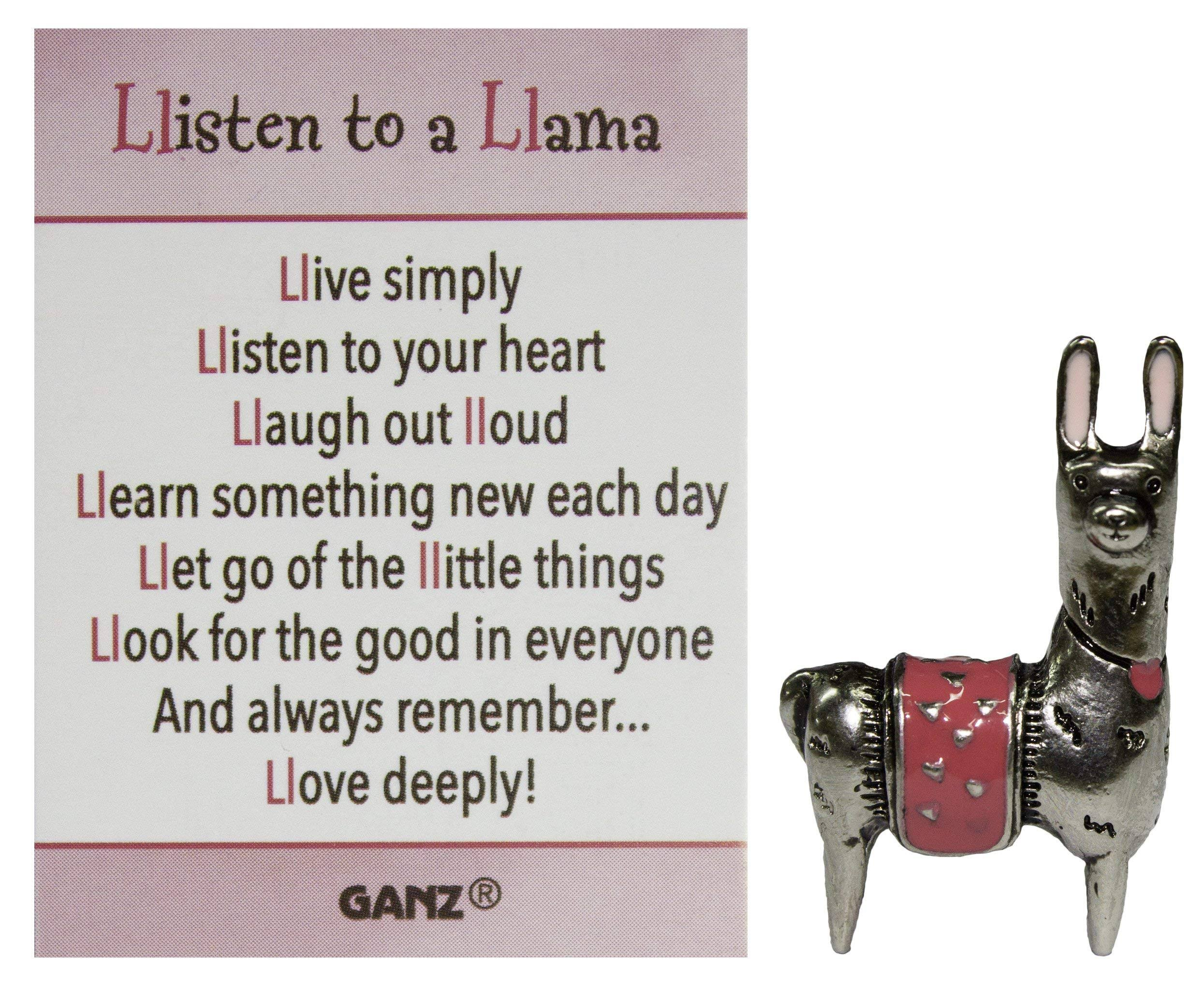 Ganz Listen to A Llama Inspirational Zinc Pocket Charm w/Story Card