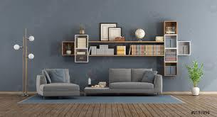 foto auf lager blaues modernes wohnzimmer