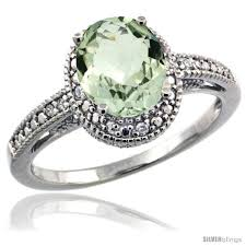 Sterling Silver Diamond Vintage Style Oval Green Amethyst Stone