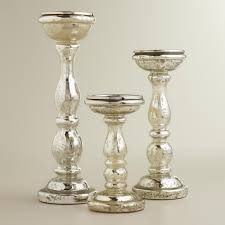 Mercury Glass Bathroom Accessories Uk by Silver Pillar Candle Holders Elegance Mercury Glass Home