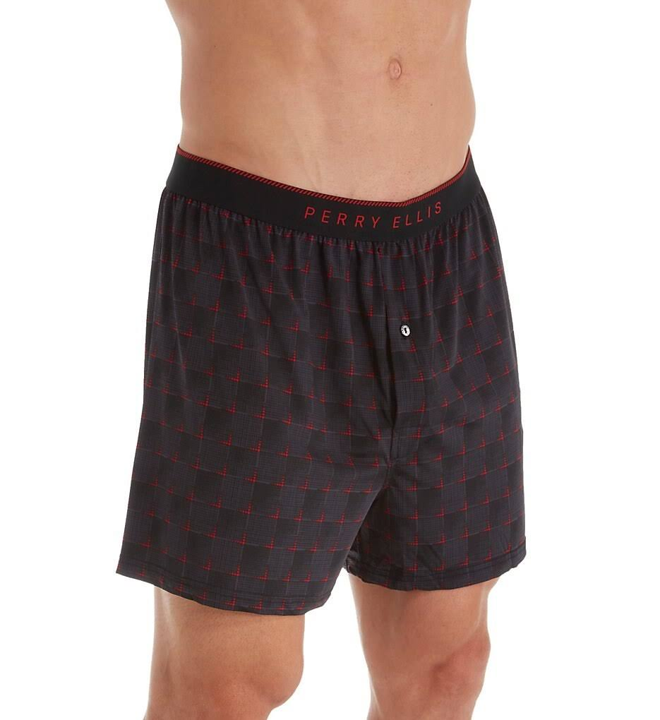 Perry Ellis Luxe Grid Print Boxer Short, Black/Intensity (163057) XL
