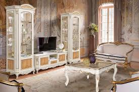 alba antike wohnwand massiv barock wohnzimmer weiß gold