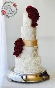 Romantic Vintage Wedding Cake In Red Gold And Ivory Mysweetdreamcakes Perthcakedecorator Perthweddingcake