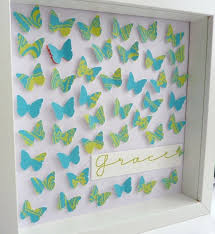 Handmade Paper Art Butterflies Keepsake In Blue Green Frame Size 10 X 10inch