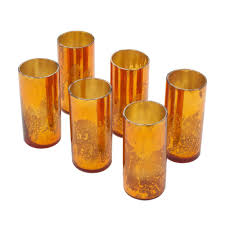 Gold Mercury Glass Bath Accessories by Amazon Com Copper Mercury Glass Votive Holders Set Of 6 Home