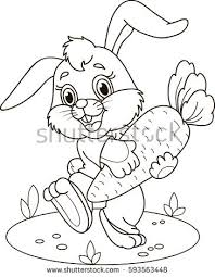 Coloring Page Outline Of Cartoon Rabbit With Carrot Vector Illustration Book For Kids