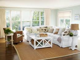 classic beach house interior with white sectional sofa
