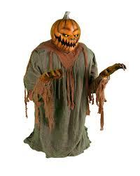 Fiber Optic Pumpkin Head Scarecrow lunging pumpkin animated decoration everything horror