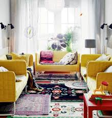 Living Room Minimalist Bohemian Design With Boho Fabric Carpet And Yellow Modern Laminated Sofa Sets Also White Curtain Added Drum