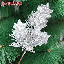Gold Silver Blue Artificial Christmas Flowers Decoration Plastic Tree Ornament Decorations Shining Bling Flower In Trees From Home Garden