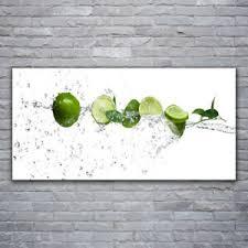 glasbilder wandbild druck auf glas 120x60 limetten wasser küche