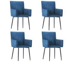 vidaxl esszimmerstühle mit armlehnen 4 stk blau samt