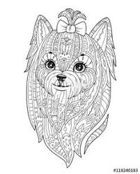 Vector Adult Coloring Page With Dog Doodle Yorkshire Terrier Zen Art