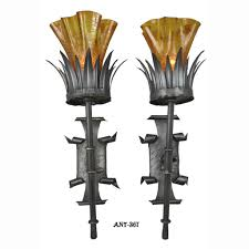antique pair torch style wall sconce lights circa 1920