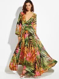 ericdress tropical flower print v neck long sleeve maxi dress