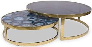 casa padrino couchtisch set blau gold 2 runde