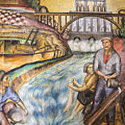 Coit Tower Murals Prints by California Industrial Scenes Mural In Coit Tower Painting By Adam
