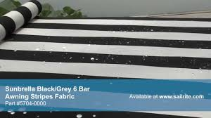 Video Of Sunbrella Black/Grey 6 Bar Awning Strip Fabric 5704-0000 ... Stark Mfg Co Awning Canvas Sunbrella Marine Outdoor Fabric Textiles Stripe 479900 Greyblackwhite 46 72018 Shade Collection Seguin And Home Page Residential Fabrics Commercial How To Use Awnings Specifications Central Forest Green Natural Bar 480600