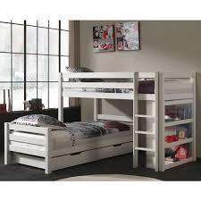 lits superposes d angle prix lit superposé d angle tiroirs enfant pino blanc