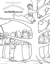This Picture Of Zacchaeus Climbing A Tree From The BibleRhymes Bible Story Coloring Book Is In Black And White For People To Print Color