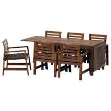 Runnen Floor Decking Outdoor Brown Stained by äpplarö Table 6 Armchairs Outdoor äpplarö Brown Stained Hållö