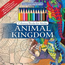 Animal Kingdom Adult Coloring Book With Colored Pencils Cover