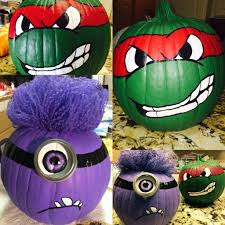 Minion Pumpkin Carving Tutorial by Painted Pumpkins Teenage Mutant Ninja Turtle And Purple Minion
