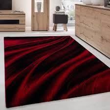 moderner designer wohnzimmer teppich wellendesign miami 6630 rot schwarz größe 80x150 cm