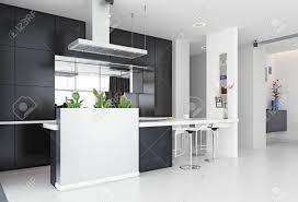 Modern White Kitchen Interior 3d Rendering Stockfoto Und Modern Kitchen Black White Interior 3d Rendering Design Concept