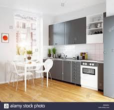 Modern White Kitchen Interior 3d Rendering Stockfoto Und Modern Cozy Kitchen Interior 3d Rendering Design Concept