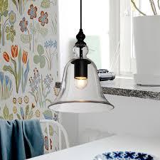 Modern Bell Shape Pendant Light Glass Lampshade Hanging Lamp E27 Edison Vintage Lighting For Dining Room Home Decor In Lights From
