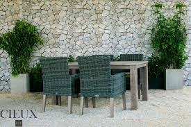 Champagne Weathered Teak Outdoor 5 Piece Dining Table Set With