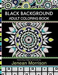 Black Background Adult Coloring Book 60 Pages Featuring Mandalas Geometric Designs Flowers