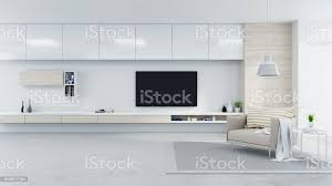 modern und minimalistischer innere wohnzimmer gemütlich konzept braune sessel mit weißen tv sideboard auf weiße wand und fußboden aus beton 3d render