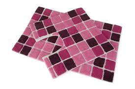 Red Bathroom Mat Set by 2 Piece Block Design Cotton Washable Pedestal Bath Mat Set