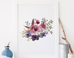 Floral Wall Art Printable Print Flower Watercolor