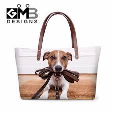 latest designer women handbags animal dog 3d pattern large tote