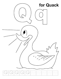 Q For Quack Coloring Page With Handwriting Practice