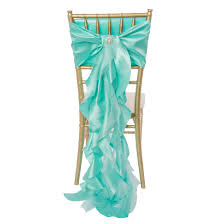 new arrival curly willow taffeta chair sash in tiffany blue