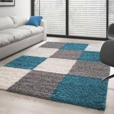 hochflor langflor wohnzimmer shaggy teppich kariert türkis weiss grau