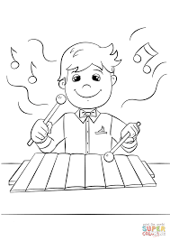 Click The Boy Playing Xylophone Coloring Pages