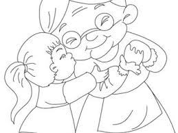 Girl Hugging Grandma Coloring Pages Hellokidscom