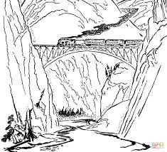 Click The Train On Bridge Coloring Pages