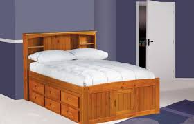 amazon com full captains bed bookcase with 3 drawers and trundle